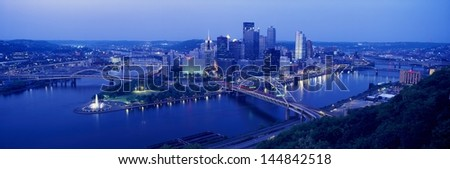 Pittsburgh with West End Bridge and Allegheny, Monongahela and Ohio Rivers in Pennsylvania - stock photo