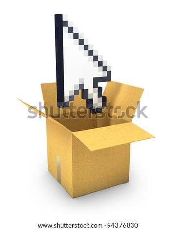 Pixel arrow cursor flies out of a carton box, isolated on white background - stock photo