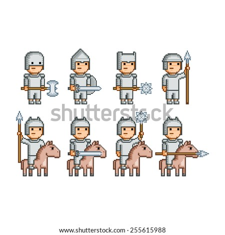 pixel art army of knights and horsemen - stock photo
