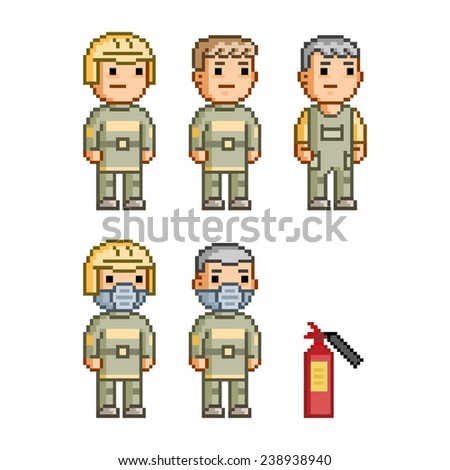 Pixel art collection of different characters firefighters