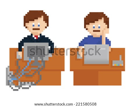 pixel art illustration - office table with wireless and wired computers and workers, isolated on white background - stock photo