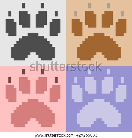 pixel art paw foot