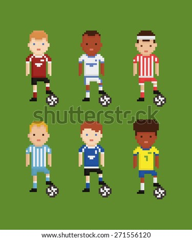 pixel art style  set - football soccer players in different uniforms on green field holding the ball with his leg six players - stock photo