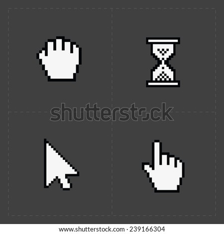 Pixel cursors icons on black. - stock photo