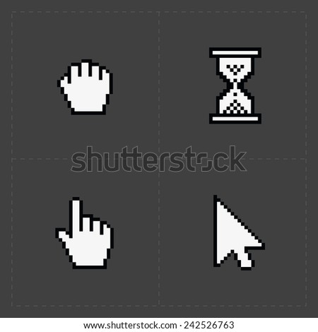 Pixel cursors icons on black.
