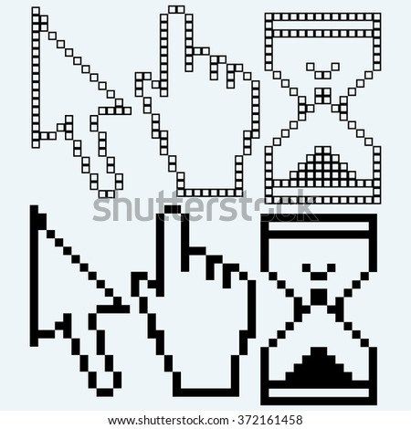Pixel cursors. Isolated on blue background. Raster version - stock photo