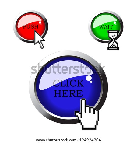 pixel cursors with buttons - stock photo