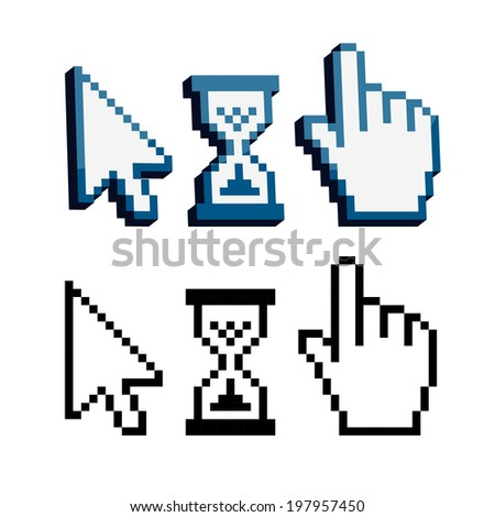 Pixel 3d cursors icons. Hand, Arrow, Hourglass
