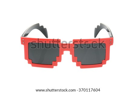 Pixel glasses isolated on white. with clipping path - stock photo
