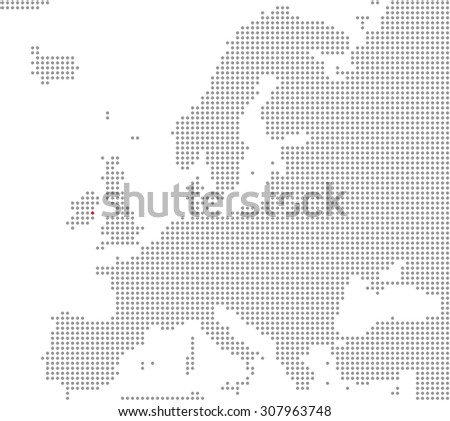 Pixel Map of Europe showing Position of city Dublin - stock photo