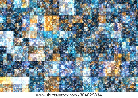 Pixel tiled abstract background with blue colors. - stock photo
