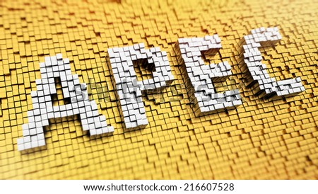 Pixelated acronym APEC made from cubes, mosaic pattern - stock photo