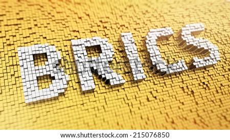 Pixelated acronym BRICS made from cubes, mosaic pattern - stock photo