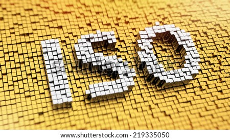 Pixelated acronym ISO made from cubes, mosaic pattern - stock photo