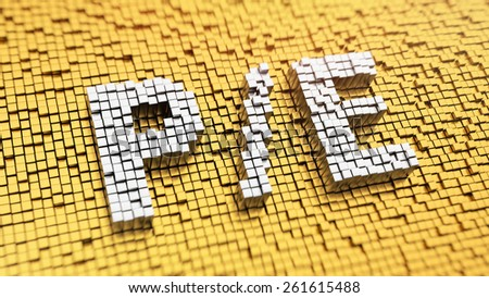 Pixelated acronym 'P/E' made from cubes, mosaic pattern - stock photo