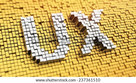 Pixelated acronym 'UX' made from cubes, mosaic pattern - stock photo