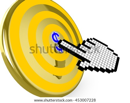 Pixelated hand cursor clicks on the center of a golden target with a blue dollar symbol 3D illustration pay per click concept - stock photo