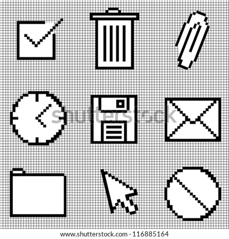 Pixelated Icons on Graph Paper. Vector also available, see my portfolio - stock photo