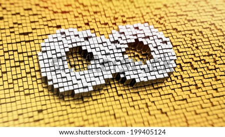 Pixelated Infinity symbol made from cubes, mosaic pattern - stock photo