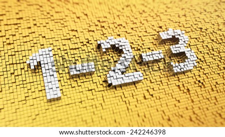 Pixelated sign '1-2-3' made from cubes, mosaic pattern - stock photo