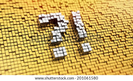 Pixelated symbol of perplexity made from cubes, mosaic pattern - stock photo