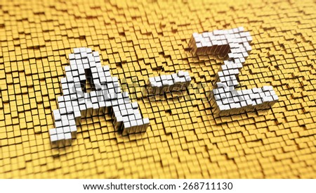 Pixelated word 'A-Z' made from cubes, mosaic pattern - stock photo