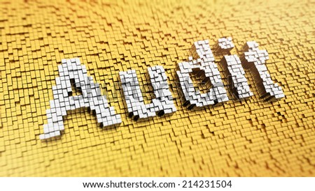 Pixelated word AUDIT made from cubes, mosaic pattern - stock photo