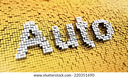 Pixelated word Auto made from cubes, mosaic pattern - stock photo