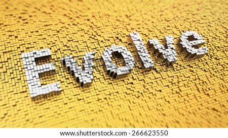 Pixelated word 'Evolve' made from cubes, mosaic pattern - stock photo