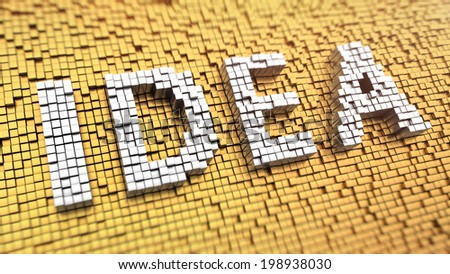 Pixelated word IDEA made from cubes, mosaic pattern - stock photo