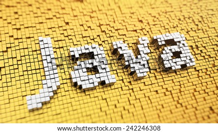 Pixelated word 'Java' made from cubes, mosaic pattern - stock photo