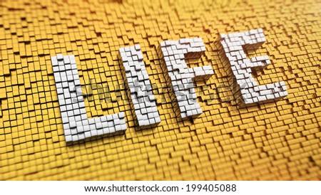 Pixelated word LIFE made from cubes, mosaic pattern - stock photo