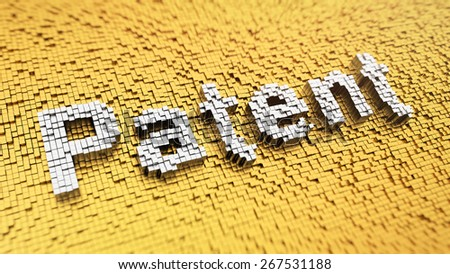 Pixelated word 'Patent' made from cubes, mosaic pattern - stock photo