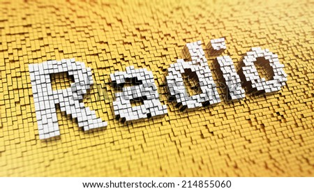 Pixelated word Radio made from cubes, mosaic pattern - stock photo