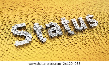 Pixelated word 'Status' made from cubes, mosaic pattern