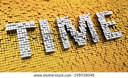 Pixelated word TIME made from cubes, mosaic pattern - stock photo