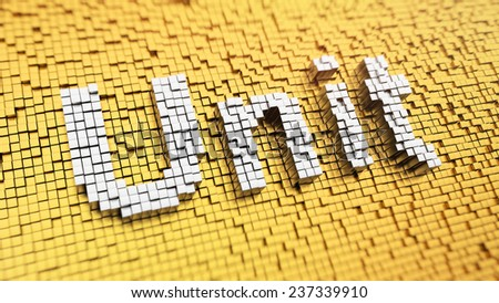 Pixelated word 'Unit' made from cubes, mosaic pattern - stock photo