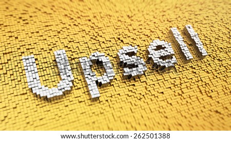 Pixelated word 'Upsell' made from cubes, mosaic pattern - stock photo
