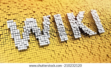 Pixelated word Wiki made from cubes, mosaic pattern - stock photo