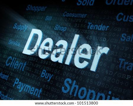 Pixeled word Dealer on digital screen 3d render - stock photo