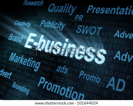 Pixeled word E-business on digital screen 3d render - stock photo