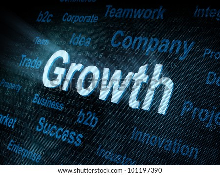 Pixeled word Growth on digital screen 3d render - stock photo