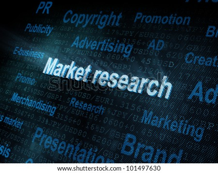 Pixeled word Market research on digital screen 3d render - stock photo