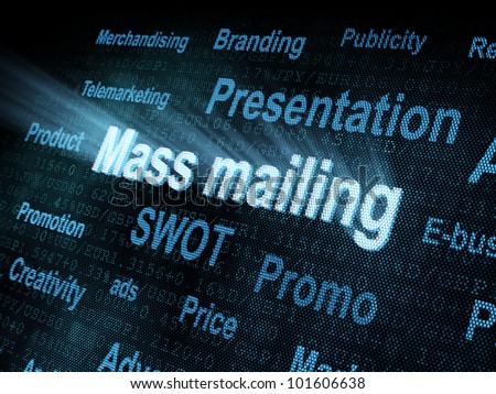 Pixeled word Mass mailing on digital screen 3d render - stock photo