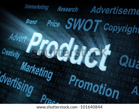 Pixeled word Product on digital screen 3d render - stock photo