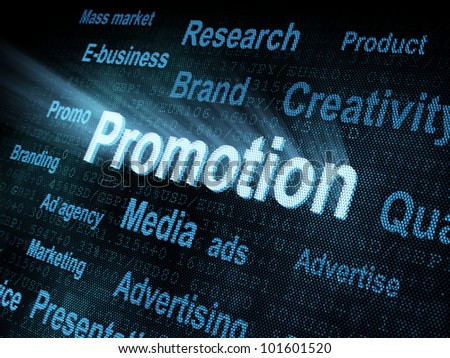 Pixeled word Promotion on digital screen 3d render - stock photo