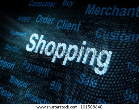 Pixeled word Shopping on digital screen 3d render - stock photo