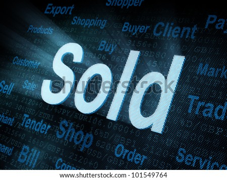 Pixeled word Sold on digital screen 3d render - stock photo