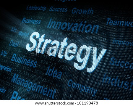 Pixeled word Strategy on digital screen 3d render - stock photo