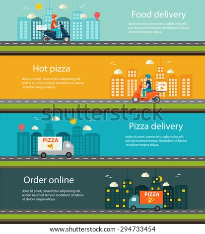 Pizza and food delivery web banners set, illustration.   - stock photo